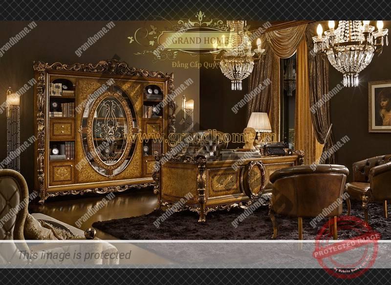 Bộ bàn làm việc cổ điển cao cấp dát vàng
