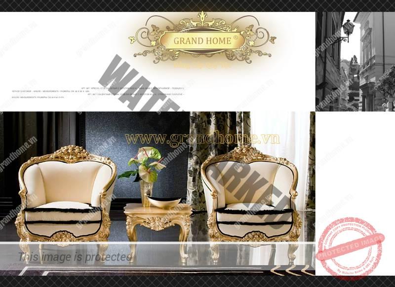 Ghế phòng khách dát vàng